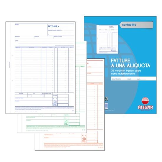 CF. 10 BLOCCHI FATTURE A 1 ALIQUOTA 3 COPIE 33 MODULI f.to 22,5x29,7